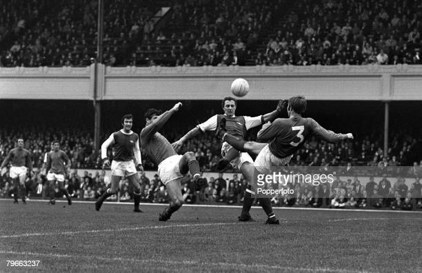 Sport Football London England 25th October 1969 League Division One Arsenal 1 v Ipswich Town 1 Arsenal's John Radford is tackled by Ipswich's Tom...