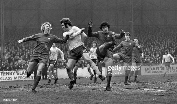 Sport Football London England 26th February 1972 FA Cup 5th Round Leyton Orient 3 v Chelsea 2 Chelsea's Peter Osgood is pictured with Orient's Paul...