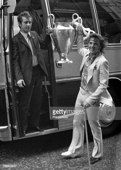 Sport Football London England 3rd June 1971 European Cup Final Ajax 2 v Panathinaikos 0 Ajax captain Velivor Vasovic holds the European Cup trophy...