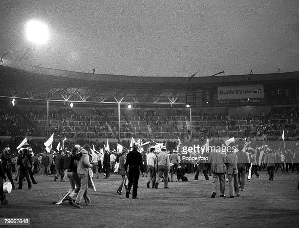 Sport Football London England 3rd June 1971 European Cup Final Ajax 2 v Panathinaikos 0 Ajax supporters celebrate on the Wembley pitch after their...