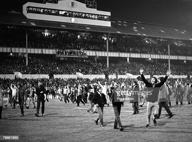 Sport Football London England 3rd May 1971 League Division One Tottenham Hotspur 0 v Arsenal 1 Arsenal supporters celebrate on the White Hart Lane...