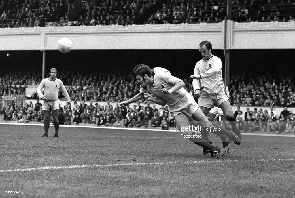 Sport Football London England 4th October 1969 League Division One Arsenal v Coventry City Coventry's Jeff Blockley dives to head clear from...