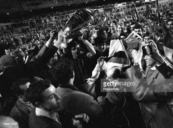Sport Football Madrid Spain 29th May 1969 European Cup Final AC Milan 4 v Ajax 1 Victorious AC Milan players parade the European Cup to their...