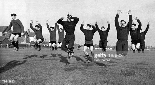 Sport Football Manchester England Manchester United players during a training session Players include Tommy Taylor David Pegg Dennis Viollet Wilf...