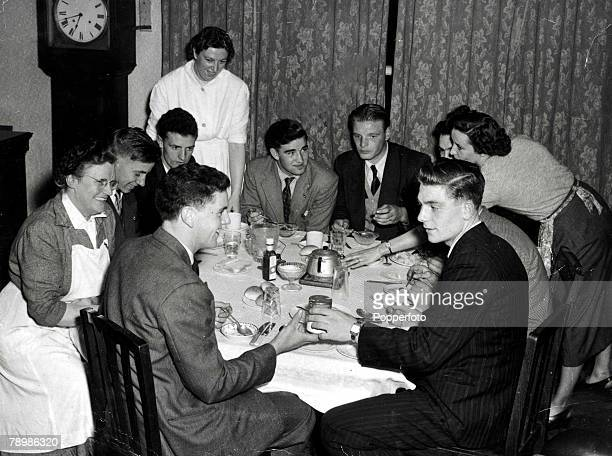 Sport Football Manchester United players at their lodgings at Ravenhurst Drive near Old Trafford landlady MrsWatsonleft and from her leftclockwise...