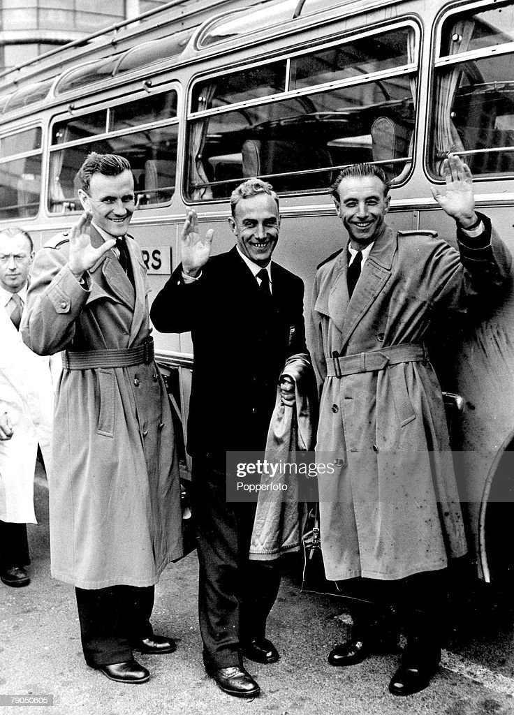 Sport Football May 1955 Englands Don Revie Billy Wright and Stanley Matthews arrive in Paris prior to the International against France at the Stade...