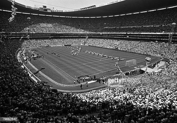 Sport Football Mexico City Mexico 31st May 1970 World Cup Finals A spectacular general view of the Opening ceremony in the Azteca Stadium