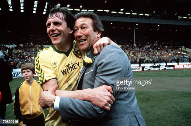 Sport Football Milk Cup Final Wembley 24th March 1985 Norwich City 1 v Sunderland 0 Norwich City Manager Ken Brown celebrates victory with player...