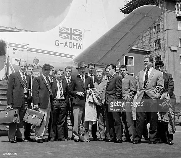 Sport Football Munich Germany 7th August 1959 Some of the Manchester United players and officials at the airport 18 months after the fateful crash...