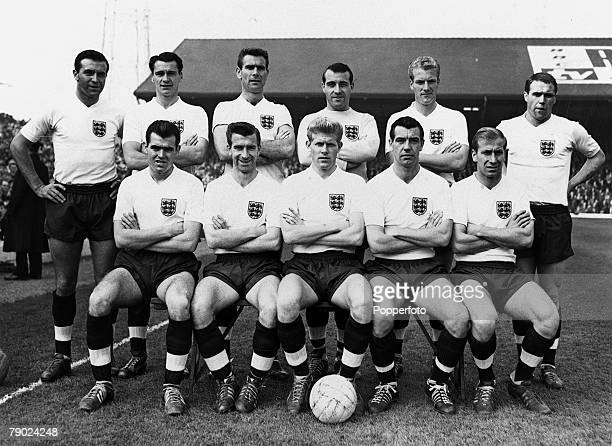 Sport Football Ninian Park Cardiff 14th October 1961 Home International Wales 1 v England 1 The England team pose for a group photograph prior to the...