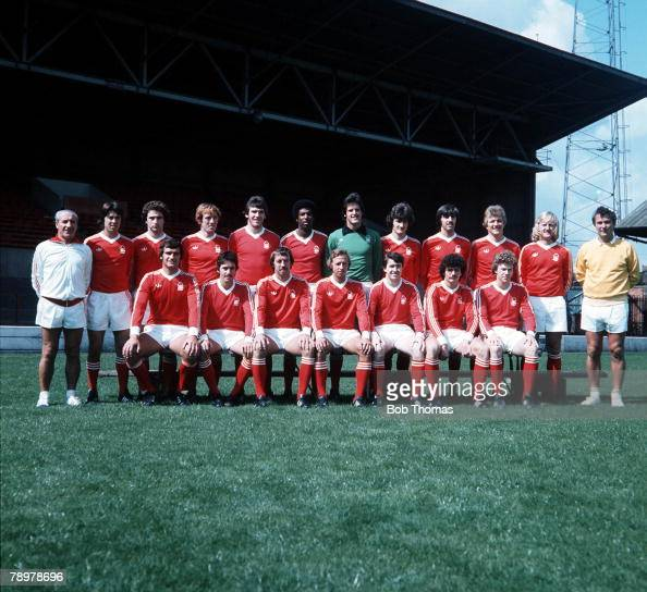 Sport Football Nottingham Forest Football ClubTeam Photograph Circa lr JGordon Gunn O'Neill Bowyer Withe Anderson Middleton Birtles Butlin Barrett...
