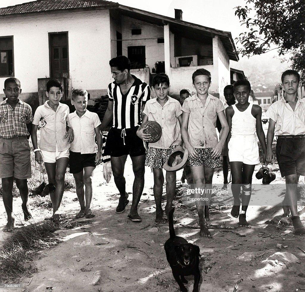 Sport Football November 1957 Botafogo star Garrincha with local