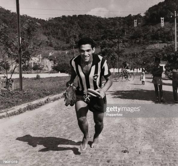 Sport Football November 1957 Brazilian star Garrincha pictured in his Botafogo club strip Garrincha was a double World Cup winner with Brazil in 1958...