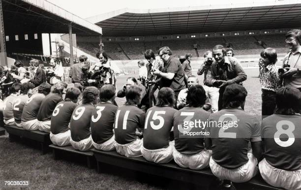 Sport Football Old Trafford England 30th July 1975 Manchester United players pose for photographers at a preseason photocall