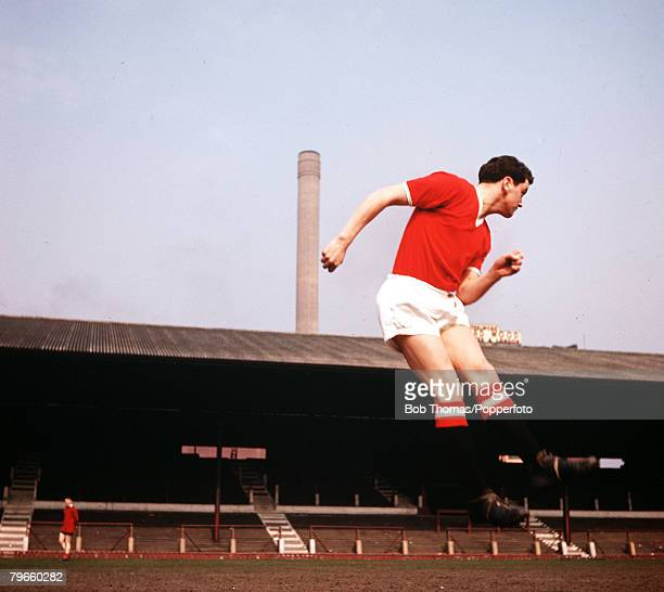 Sport Football Old Trafford England Manchester United's Tommy Taylor jumps to head the ball