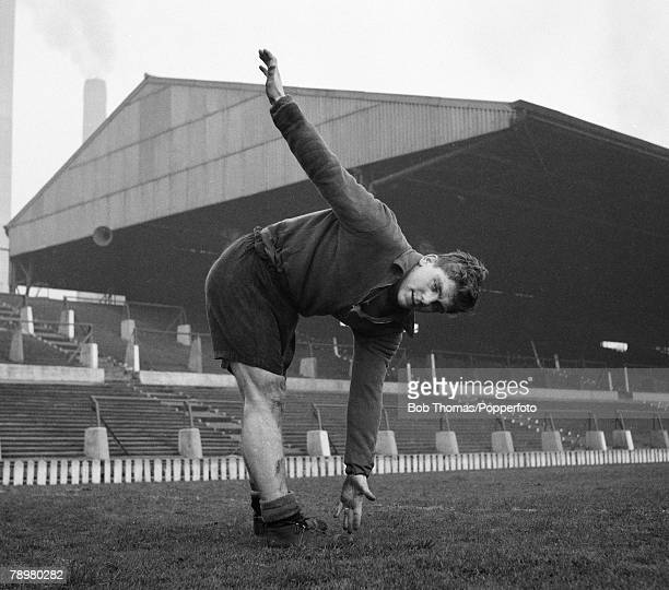 Sport Football Old Trafford Manchester England 5th January 1954 Manchester United's Duncan Edwards training after being selected for England's Under...