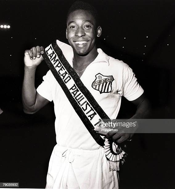 Sport Football Pele of Brazil and Santos wears his sash as his club become the Sao Paulo champions Pele was perhaps the most famous footballer of all...