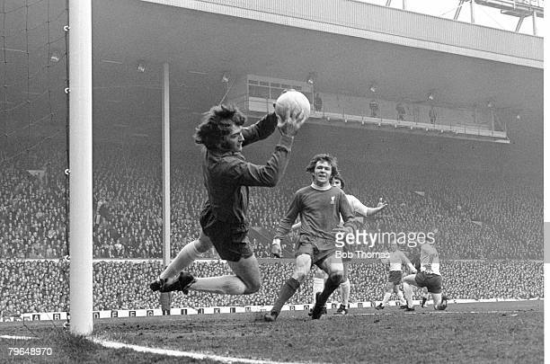 10th April 1973 Division 1 Liverpool v Tottenham Hotspur Tottenham Hotspur goalkeeper Pat Jennings makes a save from Liverpool's Brian Hall in the...