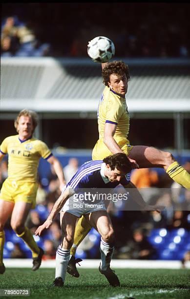 10th April 1982 Division 1 Birmingham City 0 v Leeds United 1 Leeds United defender Paul Hart outjumps Birmingham City striker Tony Evans