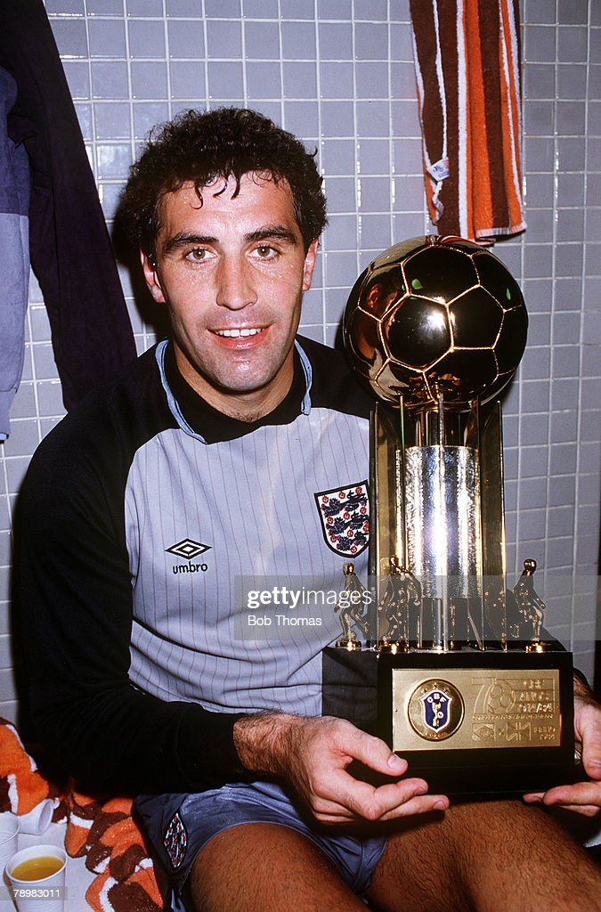 10th June 1984, England tour of South America, Brazil (0) vs, England (2), Rio De Janeiro, England Goalie Peter Shilton with the trophy England recieve to mark the 75th anniversary of the Brazillian FA