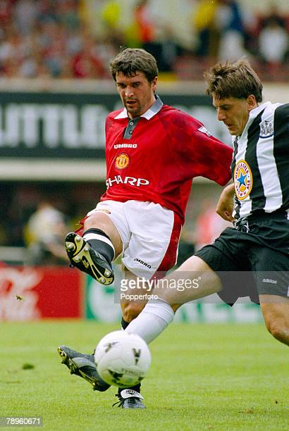 11th August 1996 FA Charity Shield at Wembley Manchester United 4 v Newcastle United 0 Manchester United's Roy Keane plays the ball past Newcastle...
