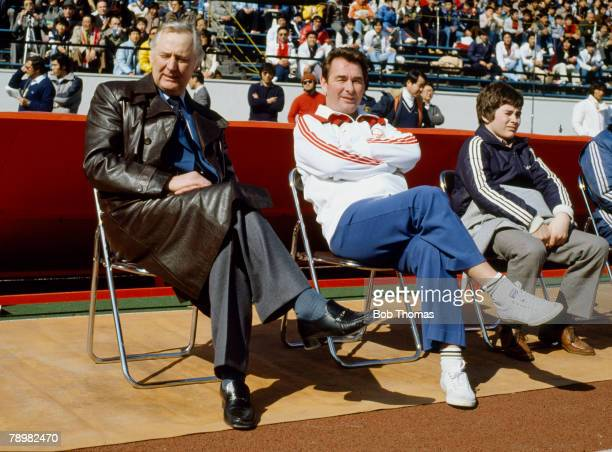 11th February 1980 World Club Championship in Tokyo Nacional 1 v Nottingham Forest 0 Nottingham Forest Assistany Manager Peter Taylor left sits...