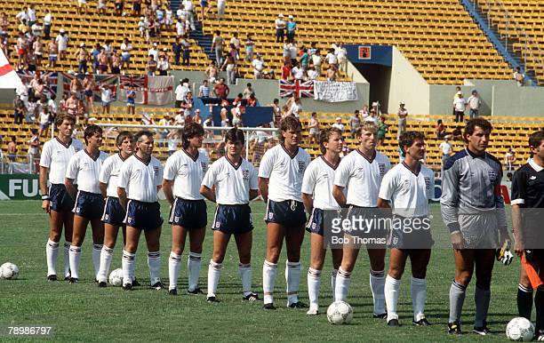 11th June 1986 1986 World Cup Finals in Mexico England 3 v Poland 0 at Monterrey England team leftright Terry Butcher Gary Lineker Peter Beardsley...