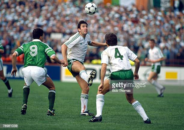 11th October 1987 World Cup Qualifier in Dublin Republic of Ireland 3 v Northern Ireland 0 Northern Ireland's Norman Whiteside heads the ball clear...