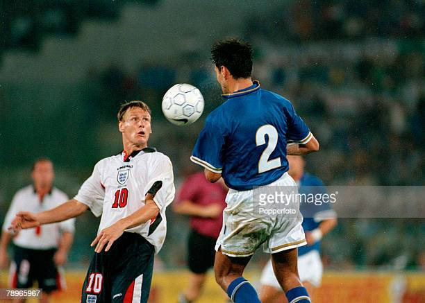 11th October 1997 World Cup Qualifier in Rome Italy 0 v England 0 England's Teddy Sheringham ball watching with Italy's Alessandro Nesta Teddy...