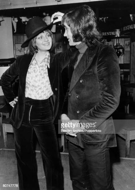 12th April 1972 George Best Manchester United and Northern Ireland'superstar' at a Manchester nightclub with his beauty queen girlfriend Carolyn...