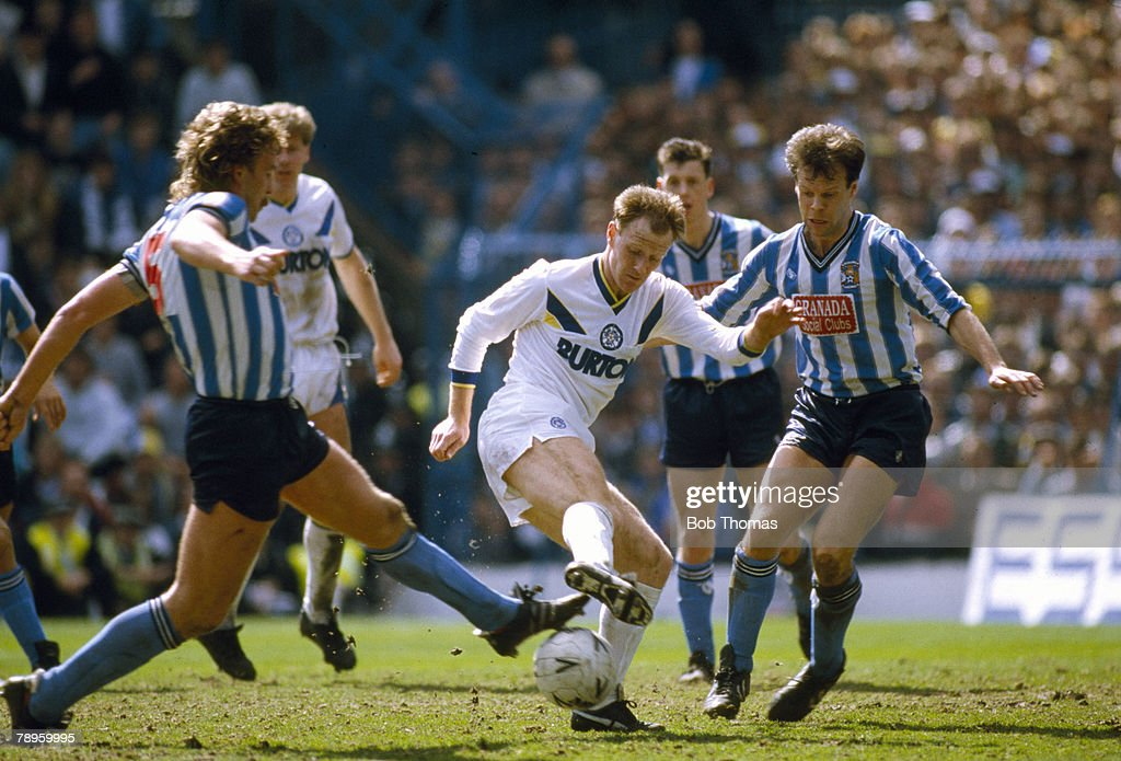 12th April 1987, FA, Cup Semi-Final at Hillsborough, Coventry City 3 v Leeds United 2 a,e,t, Leeds United's Andy Ritchie, centre, contests a ball with Coventry City's Brian Kilcline and Trevor Peake, right