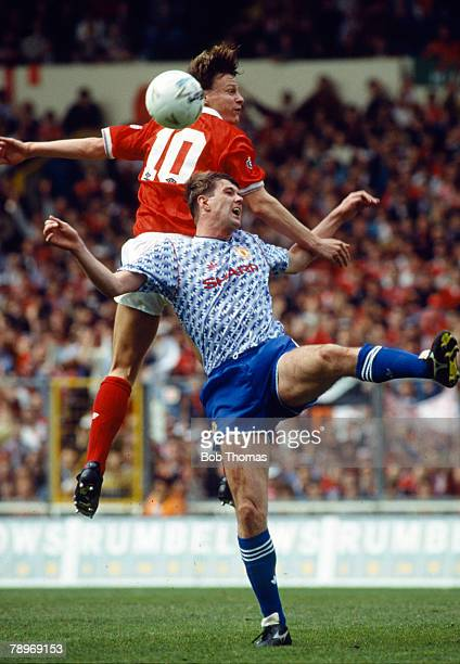 12th April 1992 Rumbelows Cup Fianal at Wembley Manchester United 1 v Nottingham Forest 0 Nottingham Forest's Teddy Sheringham outjumps Manchester...