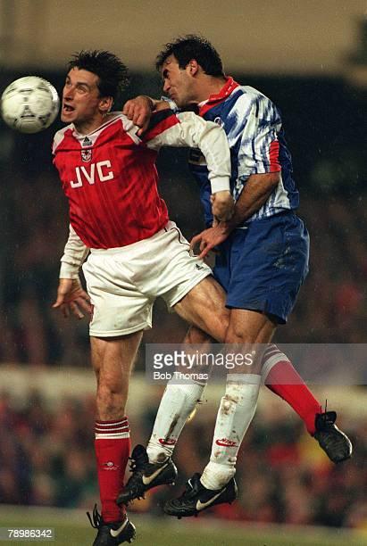 12th April 1994 European Cup Winners Cup SemiFinal 2nd Leg Arsenal 1 v Paris St Germain 0 Arsenal striker Alan Smith gets to a high ball before Paris...