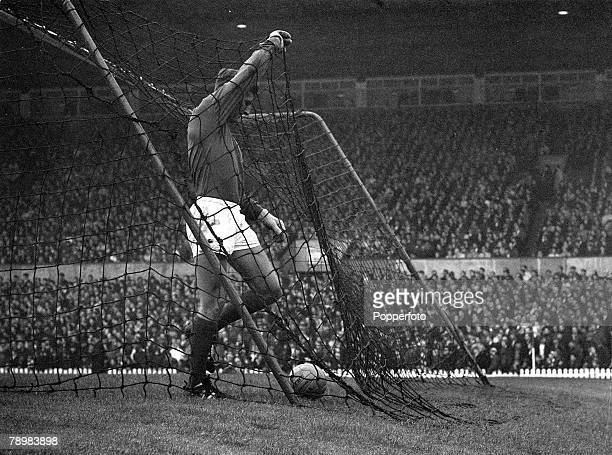 12th August 1967 FA Charity Shield at Old Trafford Manchester United v Tottenham Hotspur Manchester United goalkeeper Alex Stepney retrieves the ball...