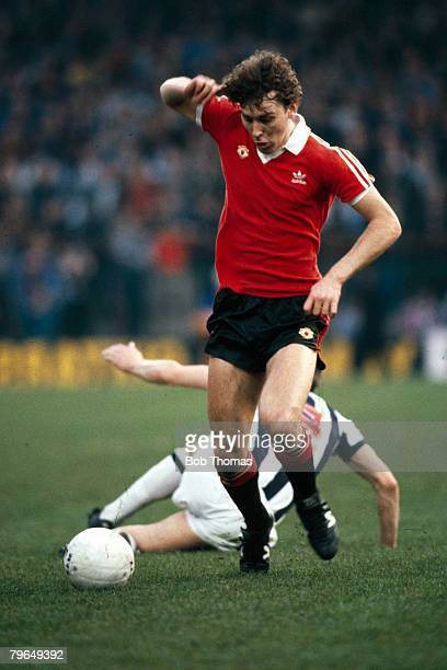 12th May 1982 Division 1 West Bromwich Albion 0 v Manchester United 3 Manchester United's Bryan Robson on the ball