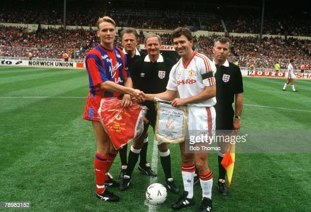 12th May 19901990 FACup Final at Wembley Crystal Palace 3 v Manchester United 3 aet Geoff Thomas left the Crystal Palace captain exchanges pennants...