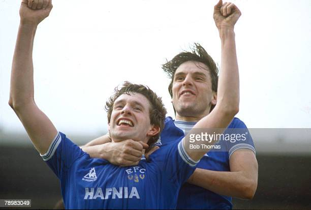13th April 1985 FA Cup Semi Final at Villa Park Luton Town 1 v Everton 2 aet Everton's Kevin Sheedy left celebrates after scoring the equalizing goal...