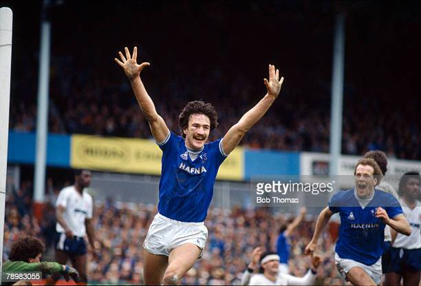13th April 1985 FA Cup Semi Final at Villa Park Luton Town 1 v Everton 2 aet Everton's Derek Mountfield celebrates after scoring the match winning...