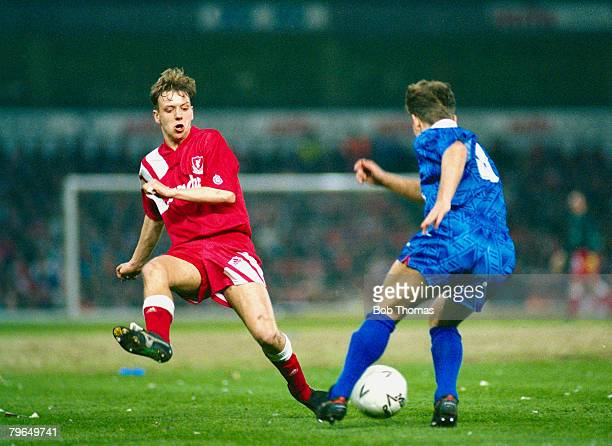 13th April 1992 FA Cup SemiFinal Replay Liverpool 0 v Portsmouth 0 Liverpool won 31 on penalties Liverpool's Rob Jones facing blocks the path of...