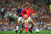 13th April 1997 FA Cup SemiFinal Old Trafford Manchester England Chesterfield 3 v Middlesbrough 3 Middlesbrough's Mikkel Beck is challenged by...