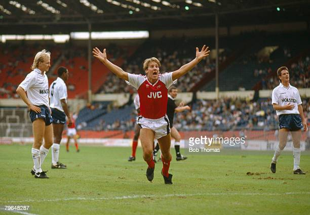 13th August 1988 The Wembley Tournament Arsenal 4 v Tottenham Hotspur 0 Paul Merson Arsenal celebrates after scoring Paul Merson Arsenal 19861997 won...