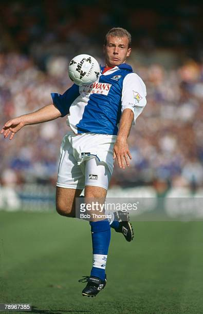 13th August 1995 FACharity Shield at Wembley Blackburn Rovers 0 v Everton 1 Blackburn Rovers striker Alan Shearer looks to control a high ball Alan...