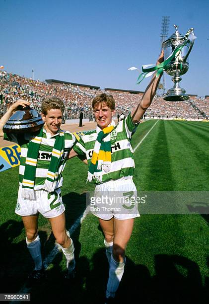 14th May 1988 Scottish FA Cup Final at Hampden Park Celtic 2 v Dundee United 1 Celtic's Anton Rogan with teammate Chris Morris and trophy after the...