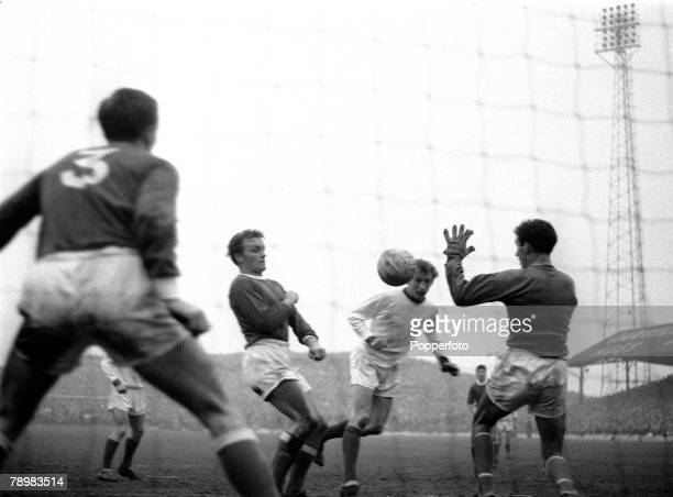 15th February 1964 FA Cup 5th Round Barnsleyv Manchester United Manchester United's Denis Law gets a header on target during the game