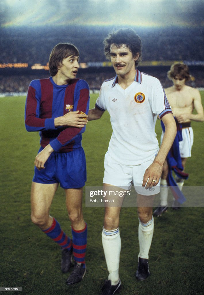 15th March 1978 UEFA Cup Quarter Final 2nd Leg Barcelona 2 v Aston Villa 1 Aston Villa's John Gregory right with Barcelona captain Johan Cruyff at...