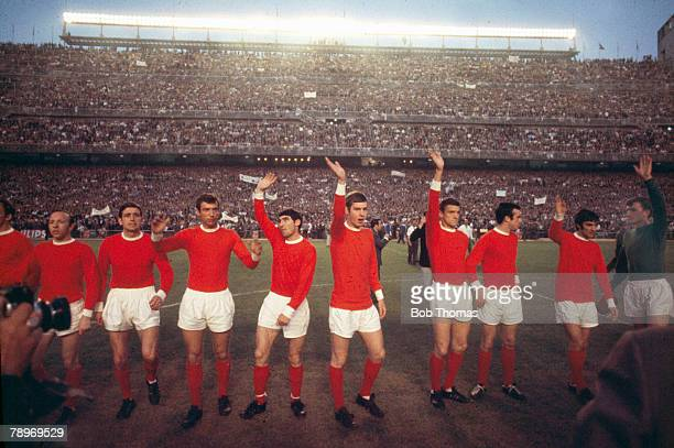 15th May 1968 1968 European Cup SemiFinal 2nd Leg Madrid Real Madrid 3 v Manchester United 3 Manchester United players wave to the crowd leftright...