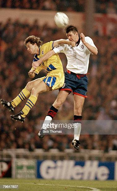 16th November 1994 Friendly International at Wembley England's Gary Pallister jumps for the high ball with Romania's RaducioiuGary Pallister won 22...