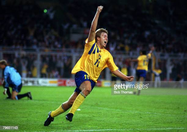 17th June 1992 European Championship in Stockholm Sweden 2 v England 0 Sweden's Thomas Brolin turns to celebrate after scoring the 2nd goal