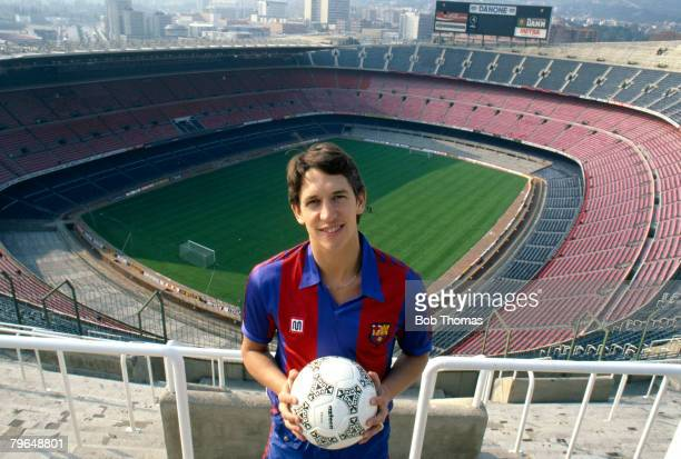 17th March 1987 Feature Barcelona's Gary Lineker poses at Barcelona's magnificent Nou Camp Stadium Gary Lineker one of England's best ever strikers...