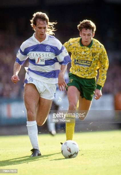 17th October 1992 FA Premier League Norwich City 2 v Queens Park Rangers 1 Queens Park Rangers' Darren Peacock is chased by Norwich City's Chris...